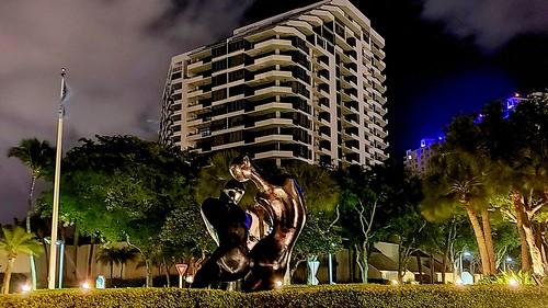 Night shot at Brickell Key, Miami, Florida.