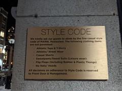Style code sign, Marbl restaurant, King Street, Toronto, Ontario, Canada