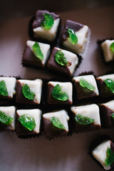 shot of green jelly bean cupcakes from above closeup
