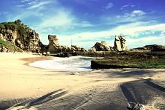 Klayar beach in south Java, Indonesia