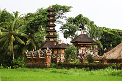 A small Balinese temple among lush greenery