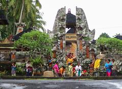 Balinese women outside a temple