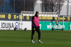 Swiss defender Manuel Akanji on the pitch during the training with Borussia Dortmund