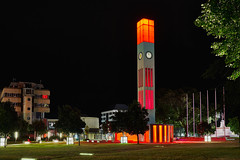 Clock Tower at night in bright red