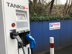 Charging station for three electric autos at the parking of the Pascha club in Cologne, Germany