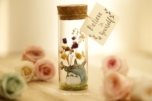 totoro トトロ  decor, Tiny message in a bottle,Miniatures house, Personalised Gift, Love Card, Valentine Card, Gift for her/him,Girlfriend gift, birthday card, holiday card and message card ideas