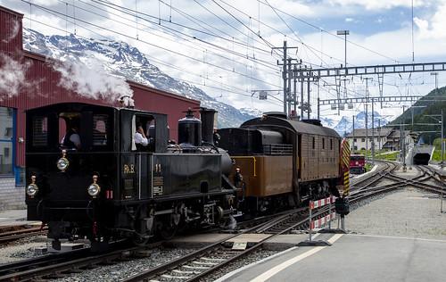 Rhätische Bahn RhB 11 & Schneeschleuder Xrot d 9213 Samedan 10 juni 2018