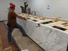 Placing the Marble Slabs on the Touch Table