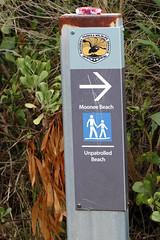 Sign to the beach off Moonee Beach Trail