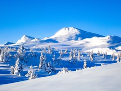 Mountain row & snow. Gausta. Norway.