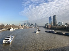 The Thames under dappled clouds