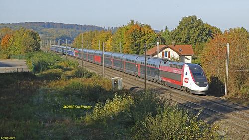 UM TGV Euroduplex Rame 4724 en tête Train 9203 Paris GdL-Zurich Hbf à Dannemarie