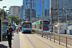 B2 and E2-class trams at Rod Laver Arena tram stop during the 2020 Australian Open