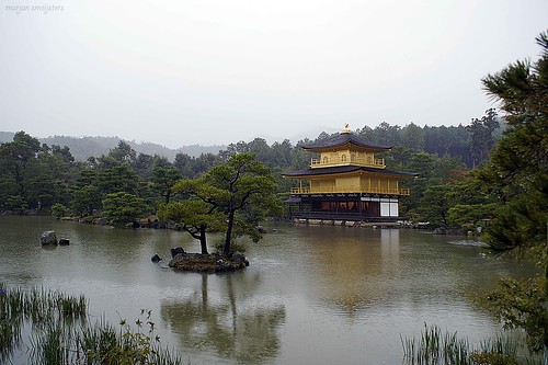 "Kinkaku-ji (金閣寺, literally ""Temple of the Golden Pavilion""), Kyoto, Japan"