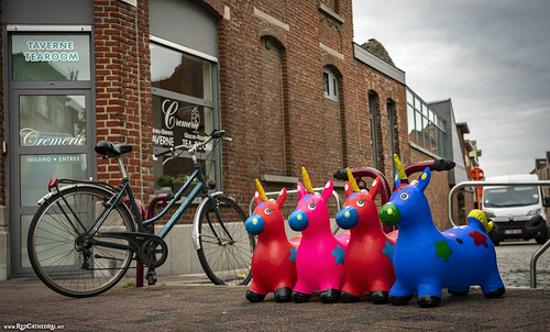 Unicorns protest in the street