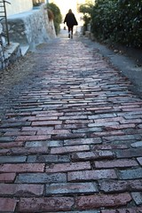 Steep ahead on brick narrow driveway