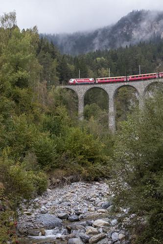 Rhätische Bahn RhB 651 Landwasser Viaduct 10 oktober 2016