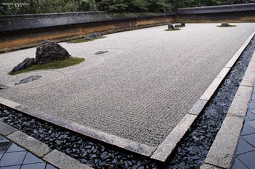 Rock Garden (karesansui, 枯山水, dry landscape) of Ryoanji Temple (龍安寺 or 竜安寺 , Ryōanji), Kyoto, Japan