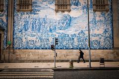 Traditional Azulejo in modern Porto