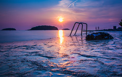 Sunset at the beach in Vrsar, Croatia
