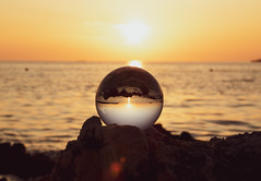 Lensball on the beach at Sunset