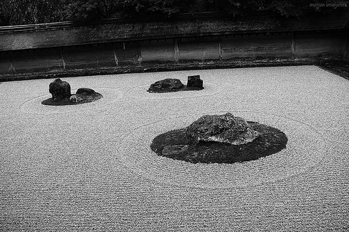 Close-up of the Rock Garden (karesansui, 枯山水, dry landscape) of Ryoanji Temple (龍安寺 or 竜安寺, Ryōanji), Kyoto, Japan