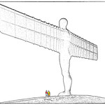Admiring the Angel of the North by Paul Lambeth