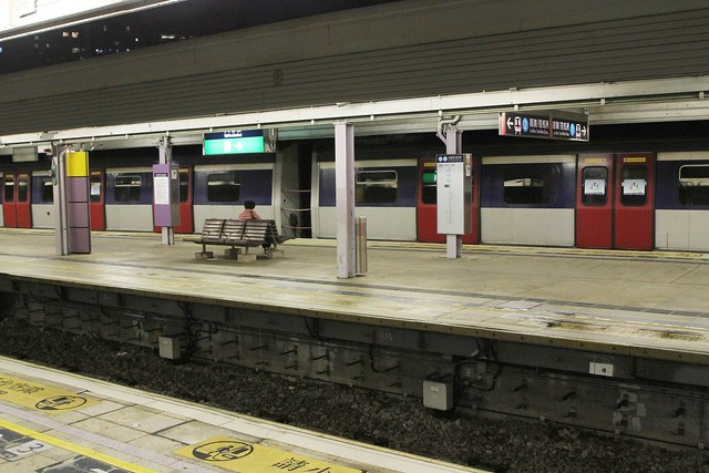 MTR MLR set stabled for the night at Tai Po Market platform 1