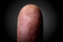 Close-up of a fingerprint on human finger