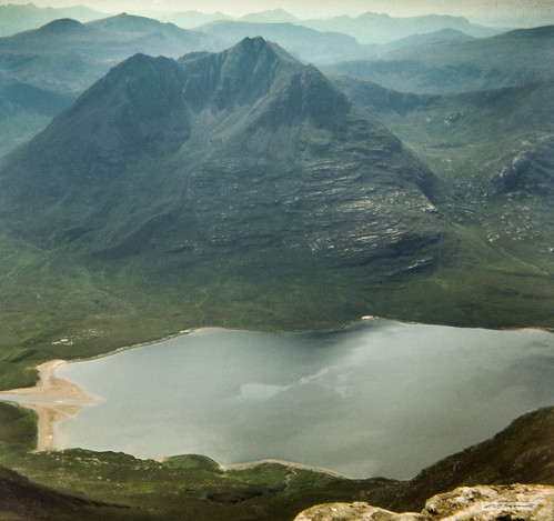 Beinn Dearg Mor and Loch na Sealga from Sgurr Fiona, 1,060 metres, one of the ten peaks making up the mighty An Teallach.