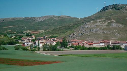 View of Countryside From ALSA Bus, Bilbao to Madrid, Monasterio de Rodilla, Castile and León, Spain