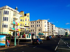 Brighton street life. Art deco houses.