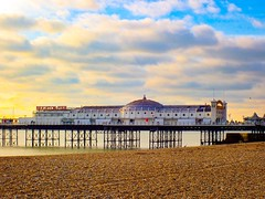 Brighton beach and pier on a sunny winter day
