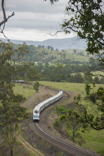 An Up XPT rushes through the Tugrabahk locality, south of the Bulliac Tunnel. North Coast Railway, NSW, 1st November, 2008.