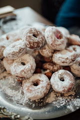 Closeup of homemade donuts with sugar