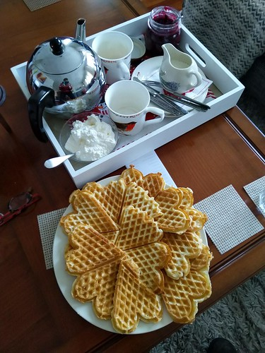 Today's afternoon tea. Waffles, raspberry preserves ( home made with no sugar, only sweetened with fresh apple juice) and whipped cream.  Lovely at a rainy sunday afternoon.