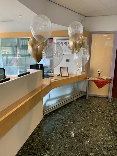 Tafeldecoratie 3ballonnen Gronddecoratie 90 Jaar Hooge Werf Poortugaal