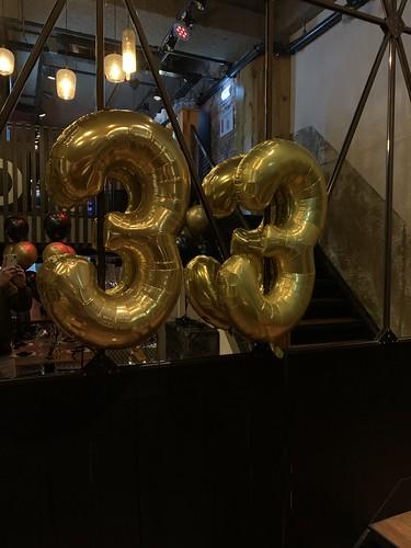 Folieballon Cijfer 33 Cafe in the City Rotterdam