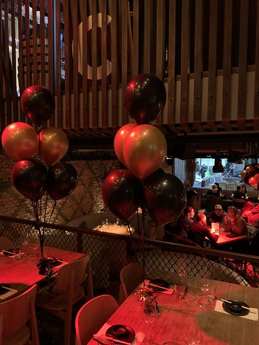 Tafeldecoratie 6ballonnen Cafe in tne City Rotterdam