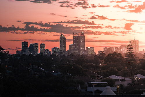 Perth City Skyline from Coode St - Bayswater, Western Australia