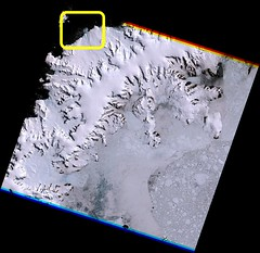 Geleira sem nome desaguando na Costa Davis, Oeste da Terra de Graham / Unnamed tidewater glacier at W Graham Land Davis Coast, Antártica.