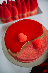 Valentine red cake with heart symbols