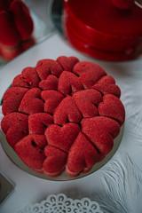 Closeup of beautiful red valentine cake