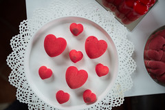 Red heart cookies. Valentine food decoration