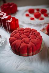 Closeup of beautiful red cake. Valentine concept