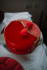 Closeup of beautiful and creative red Valentine cake