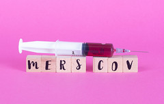 Syringe with wooden blocks and text Mers Cov
