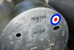 Hawker Hunter F.1 nose, the Boscombe Down Aviation Collection, Old Sarum Airfield.