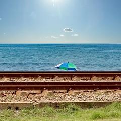 Beach behind Railway Tracks in Sri Lanka