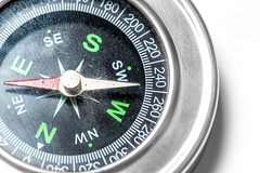Close-up of a compass on a white background